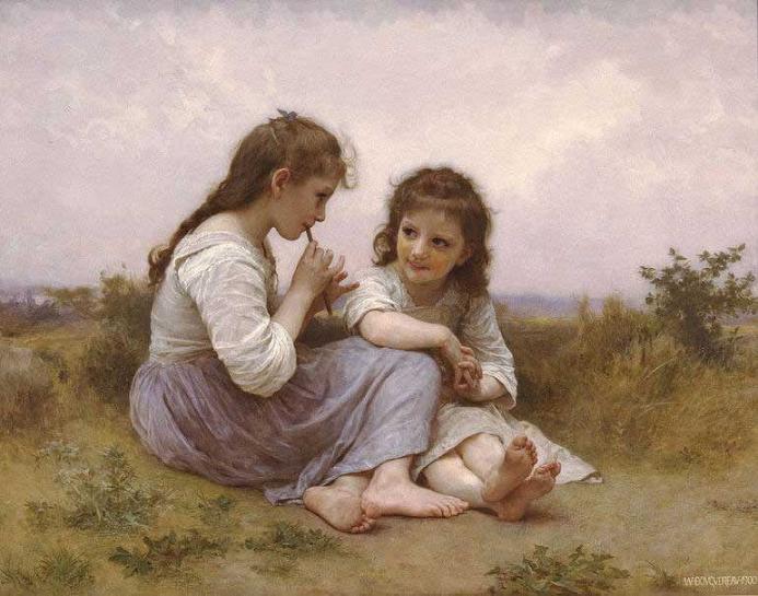 絵画(油絵複製画)制作 ウィリアム・ブグロー「幼少時代の牧歌」