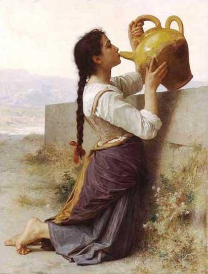 絵画(油絵複製画)制作 ウィリアム・ブグロー「渇き」
