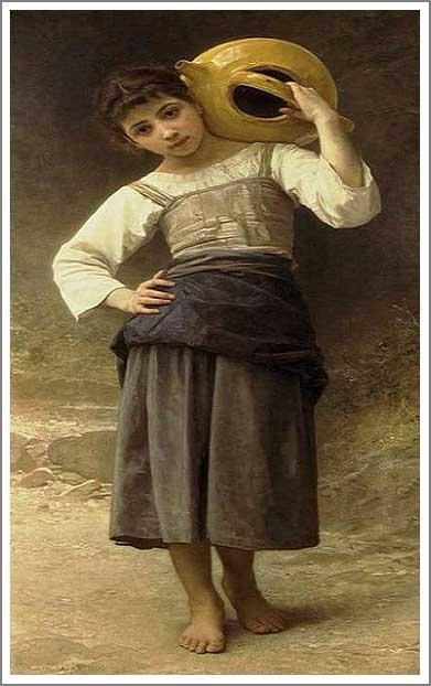 絵画(油絵複製画)制作 ウィリアム・ブグロー「泉に向かう若い少女」