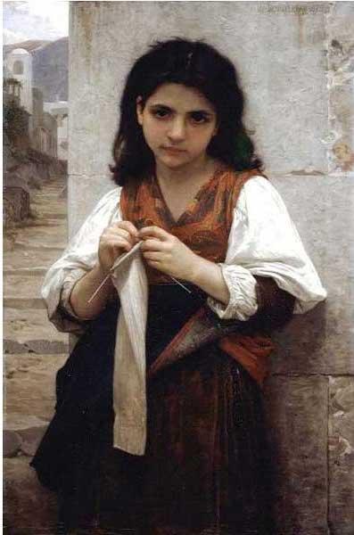 絵画(油絵複製画)制作 ウィリアム・ブグロー「若いメリヤス工」
