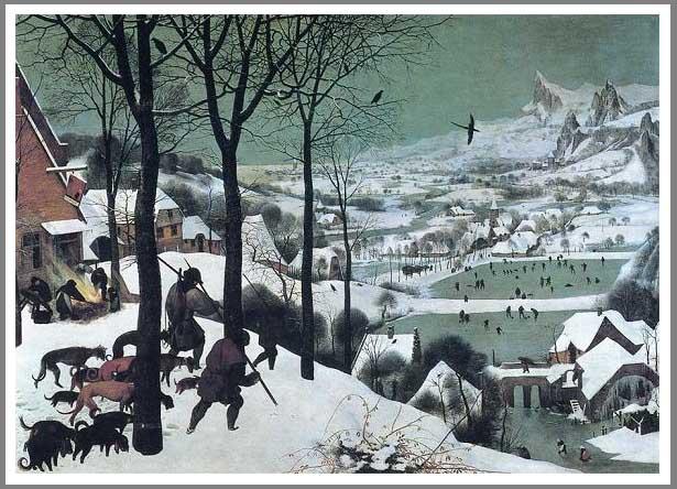 絵画(油絵複製画)制作 ピーテル・ブリューゲル「雪中の狩人」