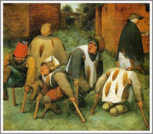 絵画(油絵複製画)制作 ピーテル・ブリューゲル「足なえたち」