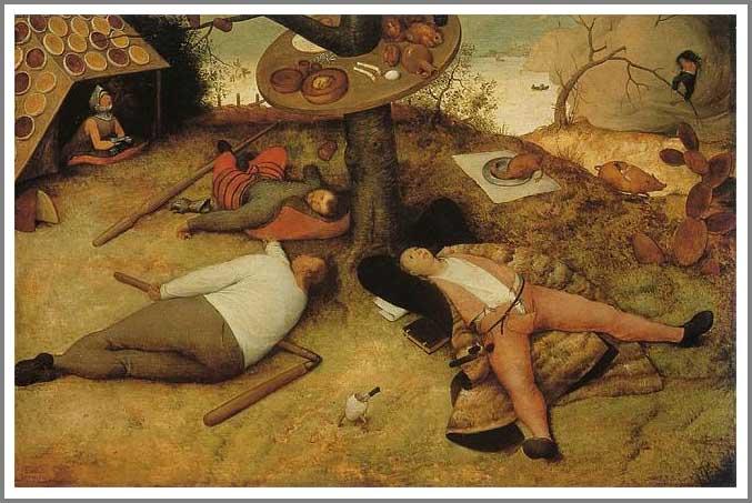 絵画(油絵複製画)制作 ピーテル・ブリューゲル「怠け者の天国」