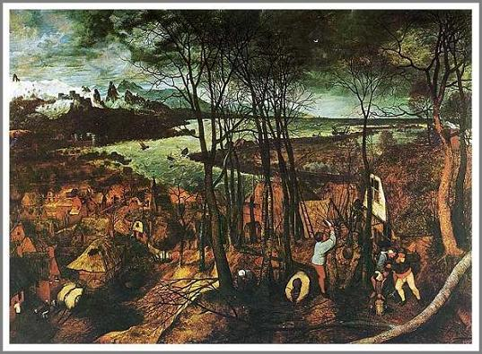 絵画(油絵複製画)制作 ピーテル・ブリューゲル「暗い日」