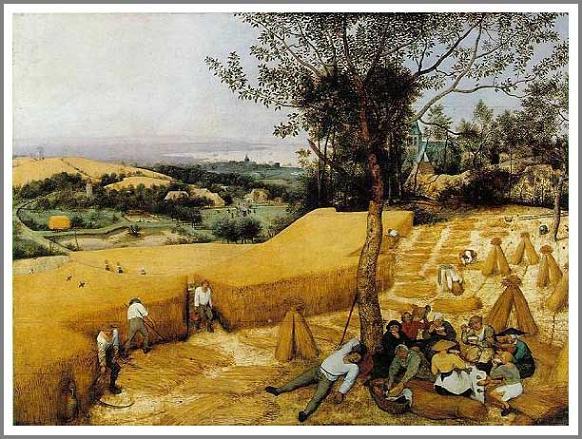 絵画(油絵複製画)制作 ピーテル・ブリューゲル「穀物の収穫」