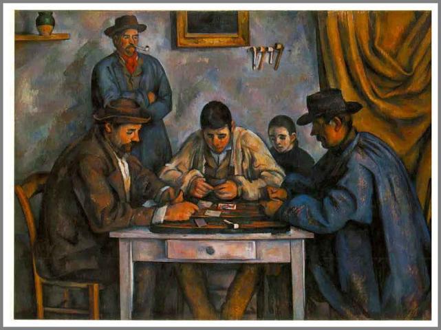 絵画(油絵複製画)制作 ポール・セザンヌ「カード遊びをする五人の人々」