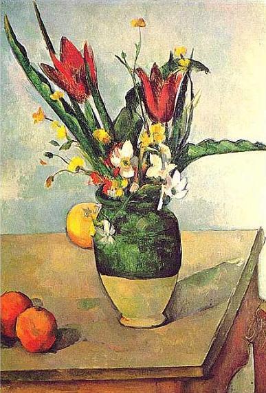 絵画(油絵複製画)制作 ポール・セザンヌ「チューリップの花瓶」