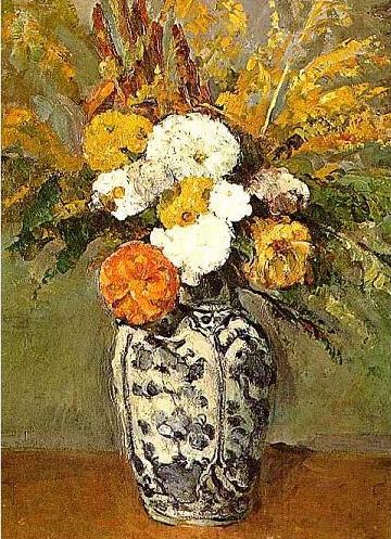 絵画(油絵複製画)制作 ポール・セザンヌ「デルフトの花瓶に活けられたダリア」