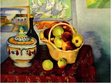 絵画(油絵複製画)制作 ポール・セザンヌ「りんごと瓶とスープ容れ」