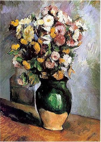絵画(油絵複製画)制作 ポール・セザンヌ「オリーブ色の花瓶に活けられた花」