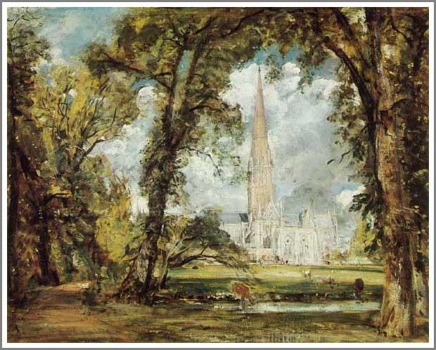 絵画(油絵複製画)制作 ジョン・コンスタブル「主教館の庭から見たソールズベリ大聖堂」