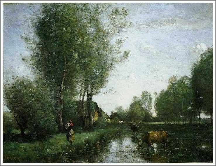 絵画(油絵複製画)制作 カミーユ・コロー「水辺」