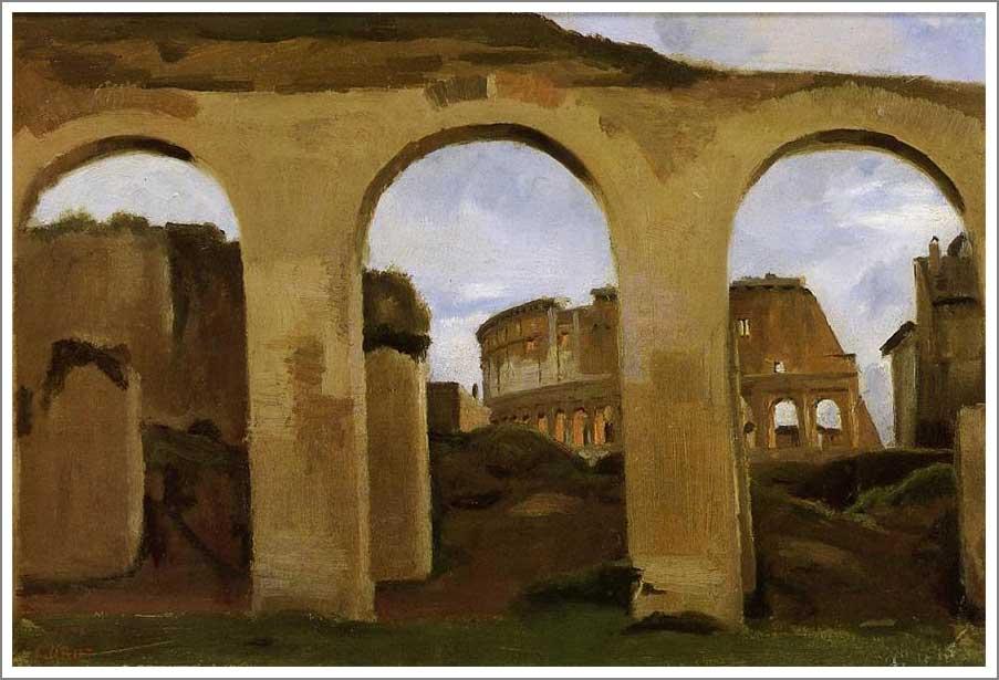 絵画(油絵複製画)制作 カミーユ・コロー「コンスタンティヌスのバジリカのアーチから眺めたコロッセウム」