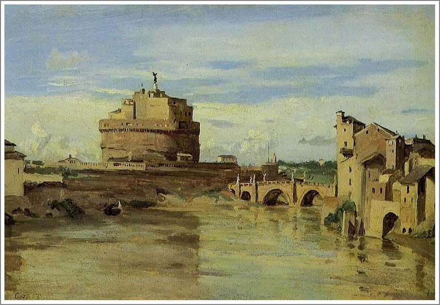 絵画(油絵複製画)制作 カミーユ・コロー「ローマのサン・タンジェロ城とテベレ川」