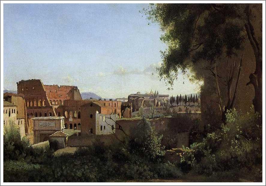 絵画(油絵複製画)制作 カミーユ・コロー「ファルネーゼ庭園から眺めたコロッセウム」
