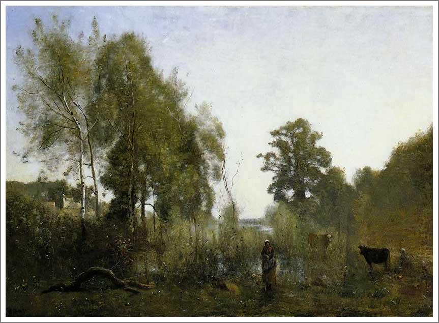 絵画(油絵複製画)制作 カミーユ・コロー「ヴィル・ダヴレーの池」