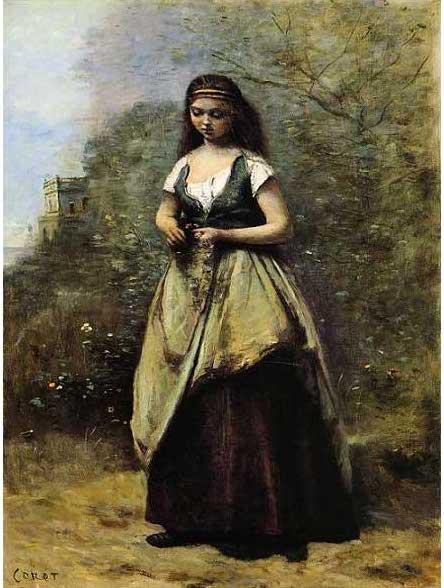絵画(油絵複製画)制作 カミーユ・コロー「花輪を編む若い娘」