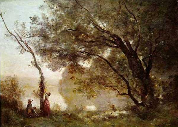 絵画(油絵複製画)制作 カミーユ・コロー「モントフォンテーヌの想い出」