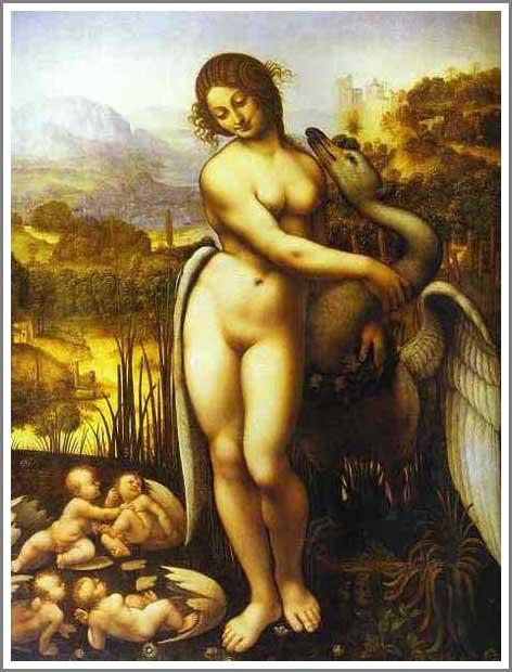 絵画(油絵複製画)制作 レオナルド・ダ・ヴィンチ「レダと白鳥」