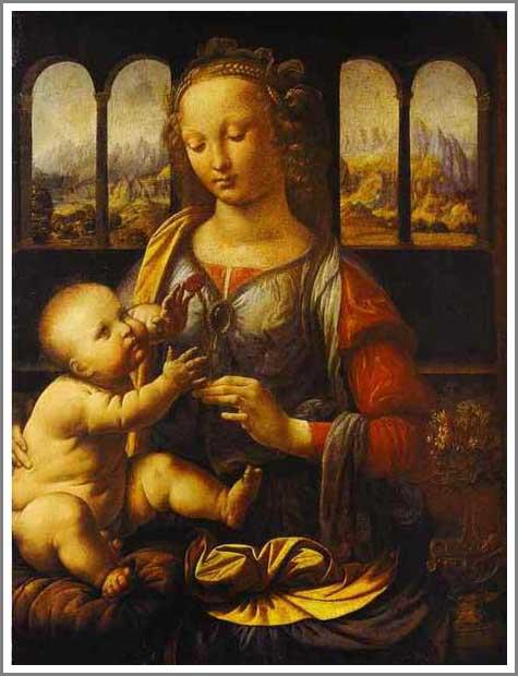 絵画(油絵複製画)制作 レオナルド・ダ・ヴィンチ「カーネーションを持つ聖母」