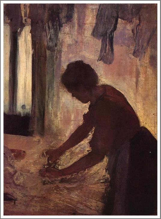 絵画(油絵複製画)制作 エドガー・ドガ「アイロンをかける女~逆光~」