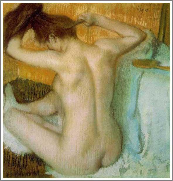 絵画(油絵複製画)制作 エドガー・ドガ「髪を梳く女」