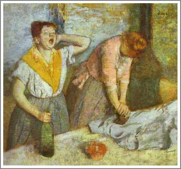絵画(油絵複製画)制作 エドガー・ドガ「アイロンをかける女」