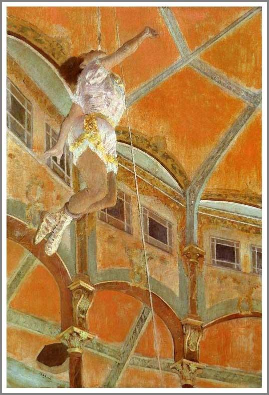 絵画(油絵複製画)制作 エドガー・ドガ「フェルナンド座のララ嬢」