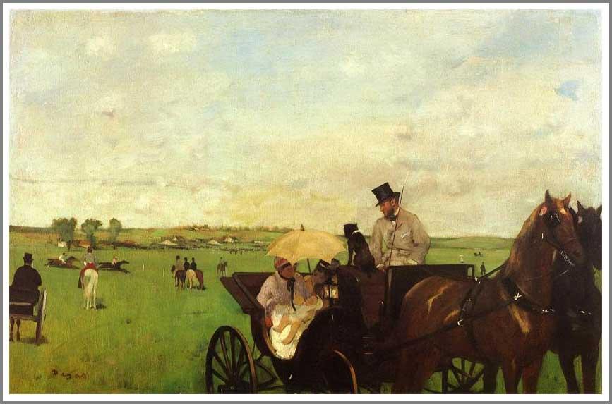 絵画(油絵複製画)制作 エドガー・ドガ「競馬場の馬車」