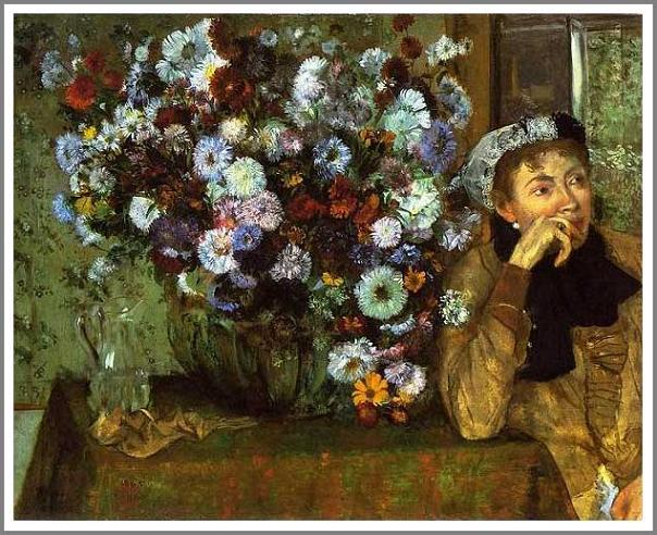 絵画(油絵複製画)制作 エドガー・ドガ「女と菊の花」