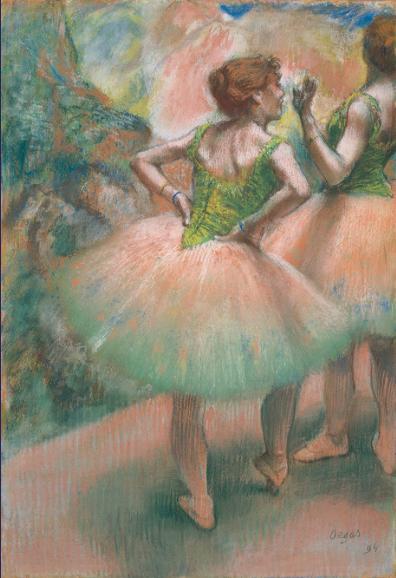 絵画(油絵複製画)制作 エドガー・ドガ「踊り子たち、ピンクと緑」