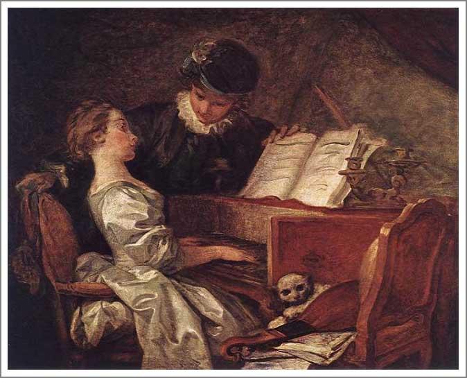 絵画(油絵複製画)制作 フラゴナール「音楽の稽古」