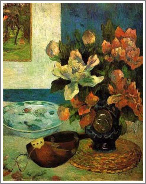 絵画(油絵複製画)制作 ポール・ゴーギャン「マンドリンのある静物」