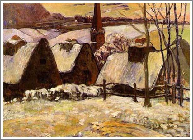 絵画(油絵複製画)制作 ポール・ゴーギャン「雪のブルターニュ」
