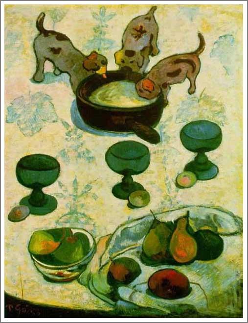 絵画(油絵複製画)制作 ポール・ゴーギャン「三匹の子犬のいる静物」