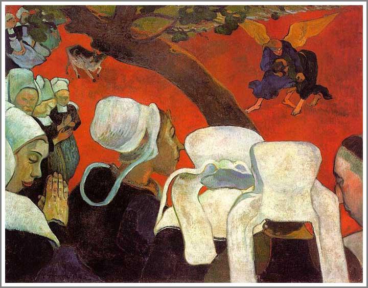 絵画(油絵複製画)制作 ポール・ゴーギャン「説教の後の幻影 ~ヤコブと天使の闘い~」
