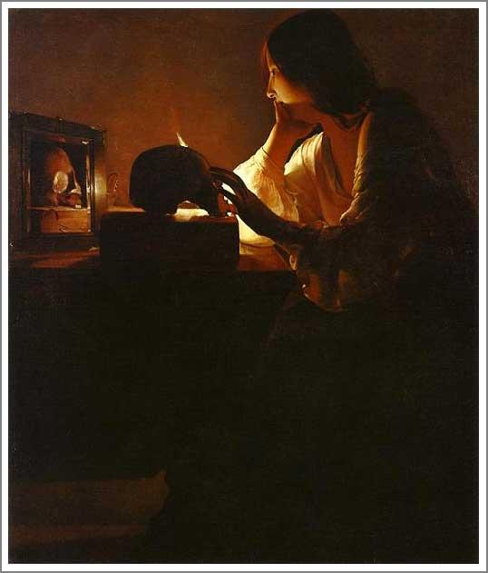 絵画(油絵複製画)制作 ジョルジュ・ド・ラトゥール「悔悛するマグダラのマリア(鏡の前)」