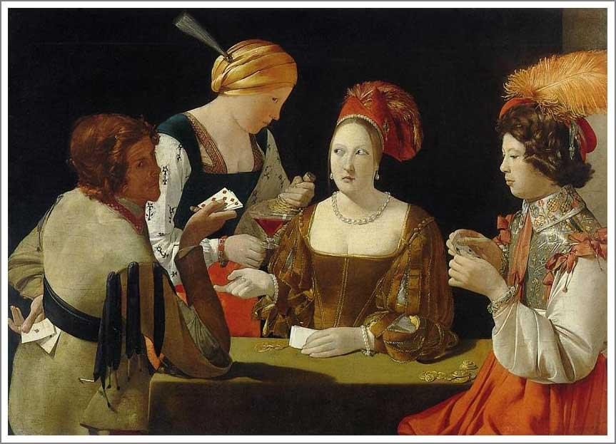 絵画(油絵複製画)制作 ジョルジュ・ド・ラトゥール「ダイヤのエースを持ついかさま師」