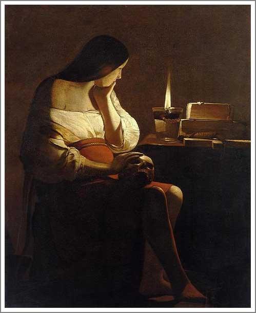 絵画(油絵複製画)制作 ジョルジュ・ド・ラトゥール「悔悛するマグダラのマリア(1つの炎)」