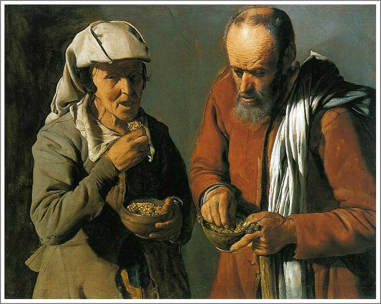 絵画(油絵複製画)制作 ジョルジュ・ド・ラトゥール「豆を食べる人々」