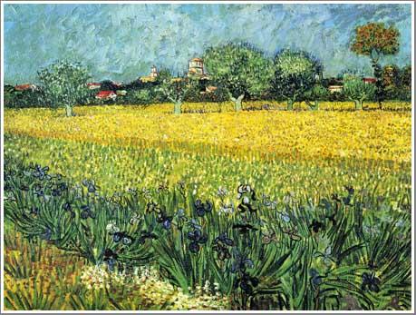 絵画(油絵複製画)制作 フィンセント・ファン・ゴッホ「アイリスのあるアルルの眺め」