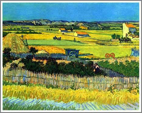 絵画(油絵複製画)制作 フィンセント・ファン・ゴッホ「ラ・クローの収穫」