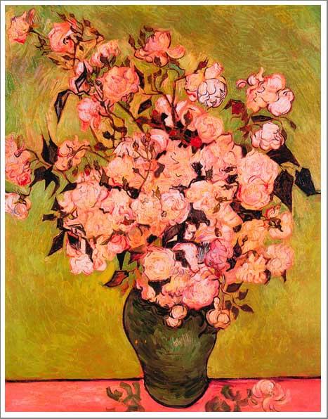 絵画(油絵複製画)制作 フィンセント・ファン・ゴッホ「花瓶のばら」