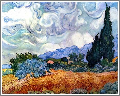 絵画(油絵複製画)制作 フィンセント・ファン・ゴッホ「糸杉のある小麦畑」