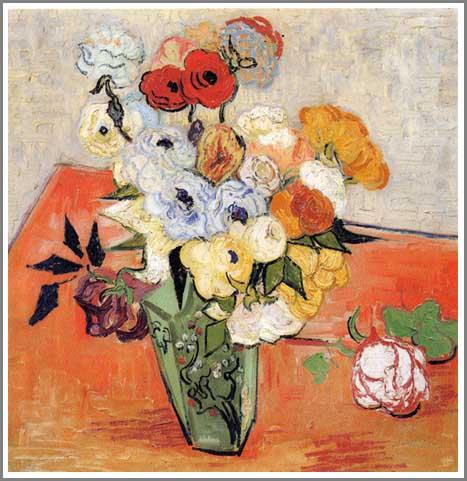 絵画(油絵複製画)制作 フィンセント・ファン・ゴッホ「日本の花瓶に生けた薔薇とアネモネ」