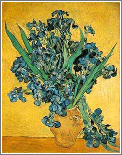 絵画(油絵複製画)制作 フィンセント・ファン・ゴッホ「花瓶のアイリス」