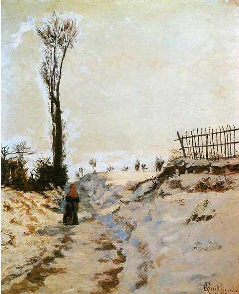 絵画(油絵複製画)制作 アルマン・ギヨマン「雪の中の小道」