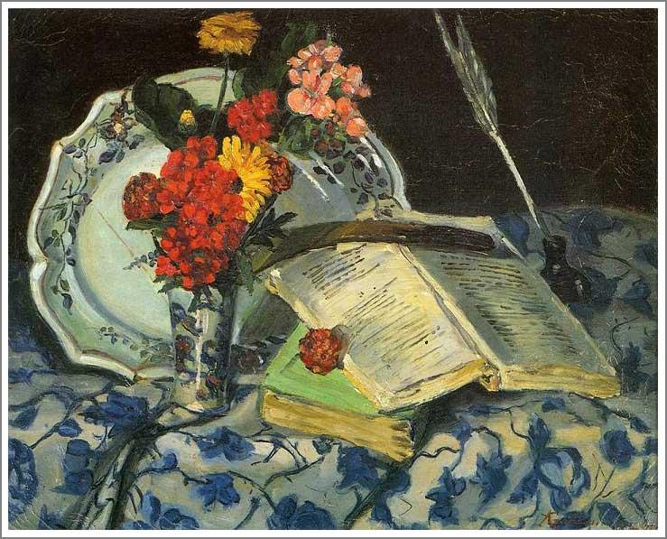 絵画(油絵複製画)制作 アルマン・ギヨマン「静物 ~花、陶器、書物~」
