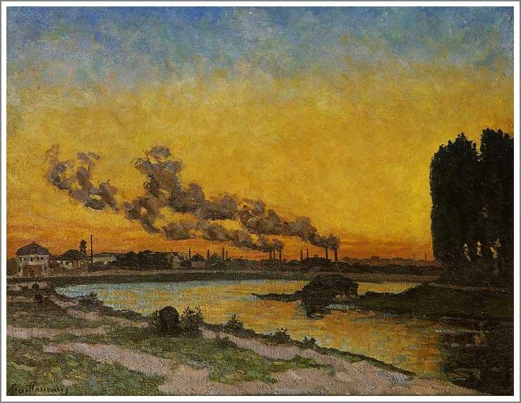 絵画(油絵複製画)制作 アルマン・ギヨマン「イヴリーの落陽」