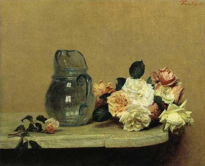 絵画(油絵複製画)制作 アンリ・ファンタン=ラトゥール「薔薇のある静物」